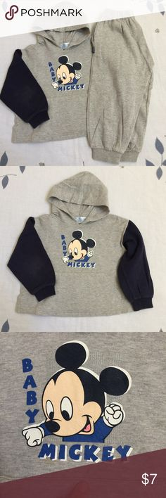 Disney boys hoodie and sweatpants set Matching set of Disney hoodie sweatshirt and sweatpants! Adorable baby Mickey printed in front with navy blue sleeves. Size around 4T. Gently worn, no holes, one stain shown in 3rd photo Disney Matching Sets