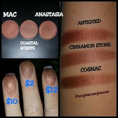 So I haven't forgotten about my #coastalscents dupe project! All these companies keep coming out with more and more stuff that I can't live without and I have to prioritize which swatches to do first! But I digress... I think that this pic should pretty much explain itself. All 3 are warm browns with very strong red undertones. The two high ends might be a smidgen more red but I don't think you be tell the difference when applied. As always with the coastal scents satins, this color is…