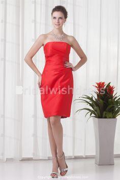 Fall Knee-Length Pleats Satin Sheath/ Column Bridesmaid Dresses 2013 -Bridesmaid Dresses