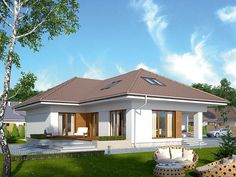 DOM.PL™ - Projekt domu MT Ambrozja 2 CE - DOM ST9-25 - gotowy koszt budowy Bungalow House Design, Home Fashion, Gazebo, Sweet Home, Outdoor Structures, Mansions, House Styles, Outdoor Decor, Home Decor