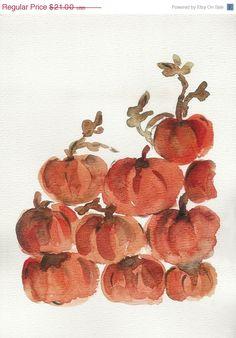 CIJ Sale Pumpkin Hill Archival print of my original watercolor painting of Pumpkins heap in Orange and Brown, halloween, thanks giving  $18.90