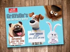 Secret Life of Pets Party Invitation Personalized by appacadappa