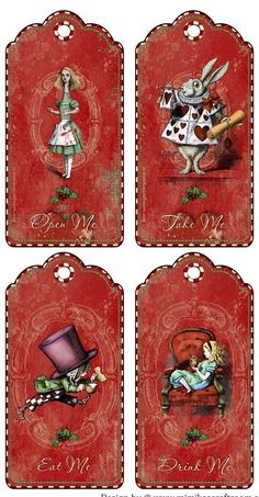 Alice in Wonderland Christmas Eat Me Drink Me Take Me Open Me Party Tags | eBay