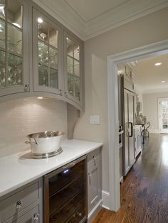 Gray Kitchen Cabinets - Transitional - kitchen - Valspar Montpelier Ashlar Gray - Andrew Roby General Contractors