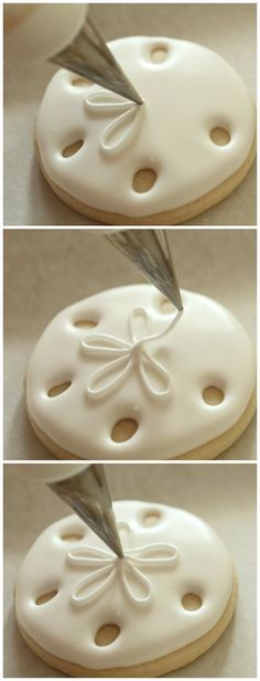 """Sand Dollar Cookie How-To. (There are more """"under the sea"""" creature cookies how-to links on this page. Just perfect for our theme at school this year.)"""