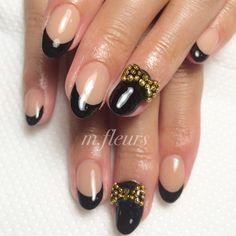 【Black French Nail♥︎♥︎】 #Black #FrenchNail #Studs #Ribbon #StudsRibbon #Nail #NailArt #北摂 #箕面 #NailSalon #Mfleurs #NailDesign #Beautiful #Thanks