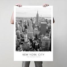 Άποψη του Μανχάταν στη Νέα Υόρκη σε ασπρόμαυρη λήψη με θέα στο Empire State Building σε poster. #cityposter #mapposter #NewYorkcityposter #πόλητηςΝέαςΥόρκης #EmpireStateBuildingposter