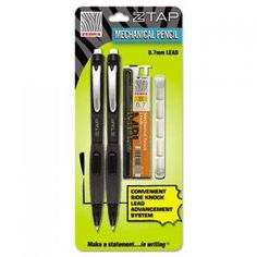 Z-Tap Mechanical Pencil (12 Pack) [Set Of 2]  Features: -Pencil.  -Grip type: Rubber.  -Mechanism: Mechanical.  -Pencil type: Mechanical.  -Refillable: Yes.  -Lead color: Black.  Pencil Type: -Mechanical.  Lead Size: -0.7Mm.  Pack Count: -12.  Item: -Pencils.  User Type: -For Student. Dimensions: Overall Product Weight: -0.1 lbs.   Features : Mechanical pencil with side advance. *Features a side-click lead advance and popular smoked barrel design.