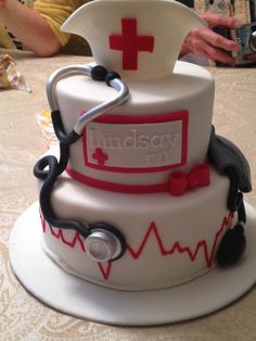 Nursing cake by laugh love cakes Fondant Cakes, Cupcake Cakes, Cupcakes, Nursing Graduation Cakes, Medical Cake, Doctor Cake, Nurse Party, School Cake, Specialty Cakes