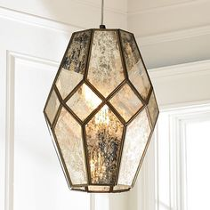 Young House Love Mercury Glass Prism Pendant - Large - Shades of Light Mercury Glass Chandelier, Glass Lamps, Home Lighting, Pendant Lighting, Brass Pendant, Young House Love, Luminaire Design, Chandelier Shades, Light Fixtures