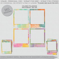 Free Colored Polaroids from HG Designs