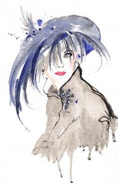 Ascot Hat with Feathers - Fashion Illustration Giclee Print