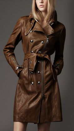 Burberry Long Biker Leather Trench Trench Coat