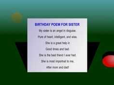 "sister birthday poems | birthday poem for sister from our Facebook Page ""Happy Birthday ..."