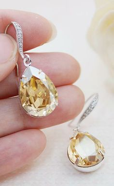 Gold Golden Shadow Swarovski Crystal Estate Style Earrings from EarringsNation Gold Weddings