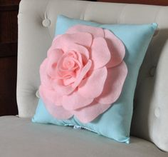 Baby Pink Rose on Aqua Pillow Baby Nursery Decor por bedbuggs