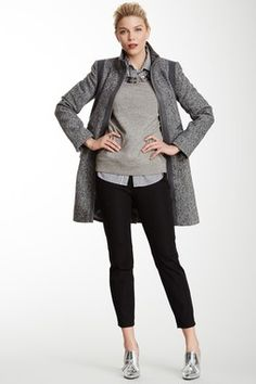 Faux Leather Trim Two-Tone Tweed Coat