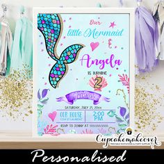 Under The Sea Mermaid Party Invitations, Scalloped Tail – Cupcakemakeover - Modern Water Theme Birthday, Mermaid Birthday, 7th Birthday, Birthday Ideas, Personalized Invitations, Printable Invitations, Invitation Cards, Mermaid Party Invitations, Birthday Invitations