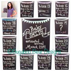 Weekly Pregnancy Countdown Chalkboard Photo by BugabooBearDesigns