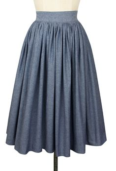 The new Trashy Diva Gathered Skirt in Blue Chambray is perfectly summer! Vintage Wear, Vintage Skirt, Vintage Outfits, Vintage Fashion, Vintage Style, Chambray Skirt, Chambray Fabric, Trashy Diva, Classic Wardrobe