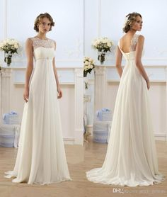 Elegant Sheath Wedding Dresses A Line Sheer Neck Capped Sleeve Empire Waist Sweep Train Chiffon Cheap Summer Beach Bridal Gowns Hy1016 Lace A Line Wedding Dress Modest Wedding Gowns From Sexy_gowns, $129.65| Dhgate.Com