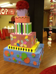 Giant Cake decoration made of cardboard boxes with PVC pipe candles? Giant Birthday Cake, Giant Cake, Birthday Cake Decorating, Birthday Decorations, Birthday Fun, Birthday Ideas, Felt Play Mat, Cardboard Toys, Happy Birthday Jesus
