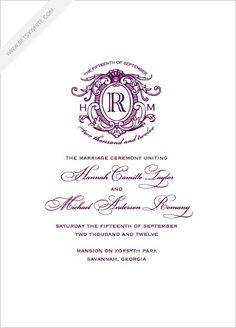 Love Logo No. 16 Wedding Program in Eggplant and Eggplant from Betsywhite Stationery