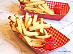 """What a cute idea. Pound cake """"fries"""" with """"ketchup"""" frosting. July 4th or Any other day! lysakaye"""
