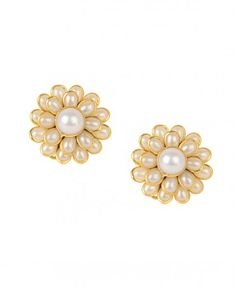 Floral Earrings with Pearls