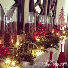 Mantle … fill tall, clear vases with coffee beans and a vanilla votive … EASY and smells SO good!! @ DIY Home Design