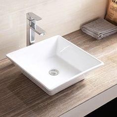 Bathroom Vanities - Walmart.com Slate Countertop, Porcelain Countertops, Countertop Materials, Square Bathroom Sink, Square Sink, Bathroom Vanities, Sinks, Steel Kitchen Sink, Stainless Steel Kitchen