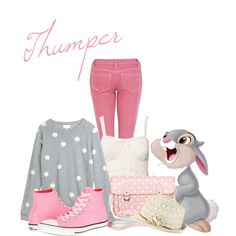 """thumper: think pink"" by struckbydaydreams on Polyvore"