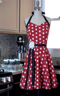 Womens Sweetheart Retro Apron- Sexy Red and White Polka Dot Judy Apron. Retro Apron, Aprons Vintage, Cool Aprons, Sewing Aprons, Red And White, Creations, Polka Dots, Fancy, My Style