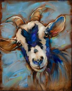 Otis Canvas Art - Susan Edison x Abstract Animals, Watercolor Animals, Colorful Animal Paintings, Abstract Art, Goat Paintings, Goat Art, Cow Painting, Farm Art, Poster Prints
