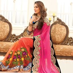 Buy Orange - Pink Heavy Embroidered Designer Saree for womens online India, Best Prices, Reviews - Peachmode