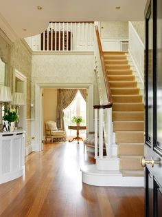 The Foyer of a house is an immediate example of a home's style - a stage to set the scene, so it's a key area to get right. Here are 5 foyer decor ideas Dream House Exterior, Dream House Plans, Dream House Drawing, British Decor, Hallway Flooring, Painted Stairs, Georgian Homes, Foyer Decorating, Little Italy