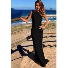 Backless O Neck Sleeveless Black Polyester Mermaid Ankle Length Dress