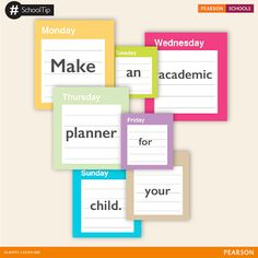 An academic planner will help keep track of assignments, deadlines, and appointments. By having all this information in one place, you'll know exactly where to look to find out what your needs to do. You can even use the planner to prioritize tasks and set a study schedule.  #PearsonSchools #SchoolTips
