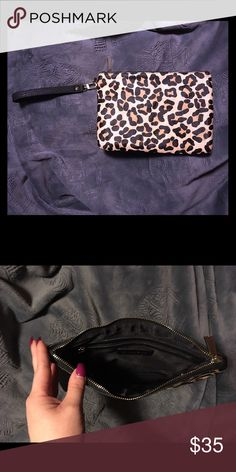 Express Leopard Calf Hair Clutch Wristlet NWOT Express Leopard Calf Hair Wristlet... Never used! Perfect condition... beautiful evening bag... smoke free home 🏡 Express Bags Clutches & Wristlets
