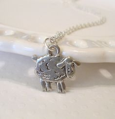 Silver Sheep Charm Necklace  everyday jewelry  by lucindascharms