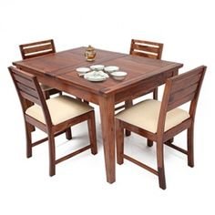 Buy zuari dining table set 4 seater wenge finish piru for Extendable dining table india