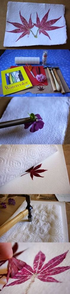 DIY / How-to: Hammered flower and leaf prints ( flowers or leaves, watercolor paper or other rough paper , selection of hammers :: ) Leaf Crafts, Flower Crafts, Fall Crafts, Flower Art, Diy And Crafts, Crafts For Kids, Arts And Crafts, Paper Crafts, Diy Flower