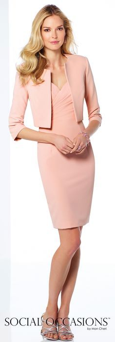Social Occasions by Mon Cheri - 117812 - Two-piece twill dress set, sleeveless knee-length sheath with front and back V-necklines, directionally ruched empire bodice accented with side hand-beaded motif, and center back slit, matching bolero jacket with three-quarter length sleeves included.