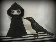OOAK Gothic Art Rag Doll & Crow Something by ChamberOfDolls