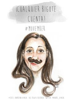 Movember Illustration in watercolor technique by Andreina Ayala.  http://www.ilustracion.com.ve/
