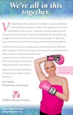 Valley Sleep Center Donating 10% of Profit to Provide Financial Relief to Women in Treatment for Breast Cancer (Phoenix, AZ) October 10, 2016 – Valley Sleep Center is dedicating the month of October…