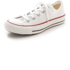 Converse Chuck Taylor All Star Sneakers ($55) ❤ liked on Polyvore featuring shoes, sneakers, converse, tenis, optical white, lace up shoes, converse shoes, rubber sole shoes, star shoes and white low top sneakers