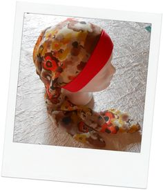 Turban préformé - Foulard cheveux - chapeau - chimio rouge marron orangé  monté sur un bandeau de jersey rouge 9a017ddf171