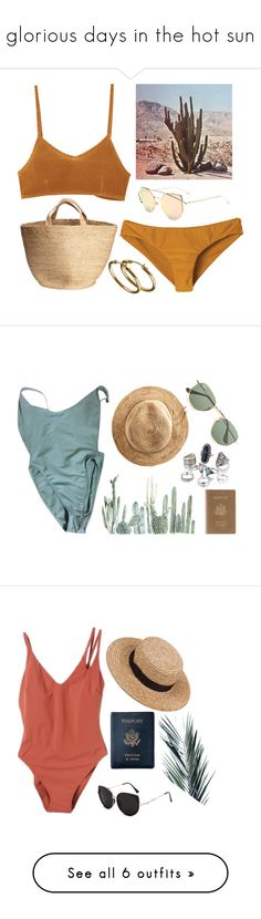 """glorious days in the hot sun"" by redapplecigarettes ❤ liked on Polyvore featuring RVCA, American Apparel, Hat Attack, Ray-Ban, Royce Leather, Araks, Eres, Le Specs, Isapera and SHE MADE ME"