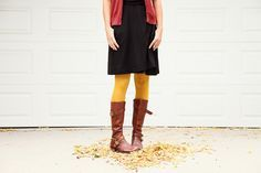 I love colored tights! They are great ways to bring a pop of color in